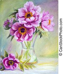 peonías, florero, lona, pintura al óleo