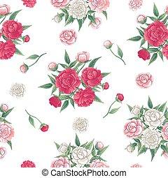 peonías, rosa, fondo., pattern., seamless, ilustración, peon...