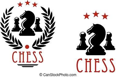 peones, caballeros, emblemas, torneo, ajedrez