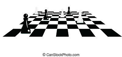 peones, tablero de ajedrez