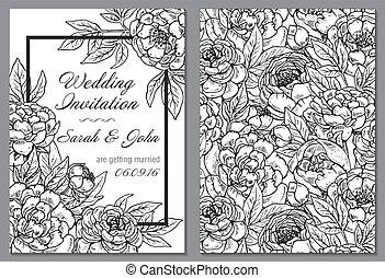 peonia, matrimonio, flowers., nero, invito, bianco