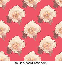 peonia, mazzolino, modello, seamless, flowers., bianco