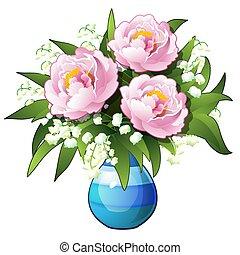 peonies, azul, lírios, flores, illustration., buquet, vaso, close-up, isolado, experiência., vetorial, branca, vale, caricatura