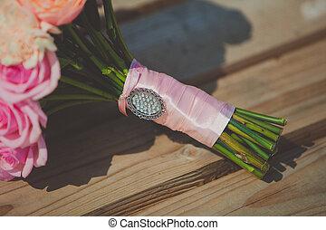 peonies, buquet, nupcial, rosas