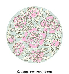 Peonies flower rosette vector isolated composition.