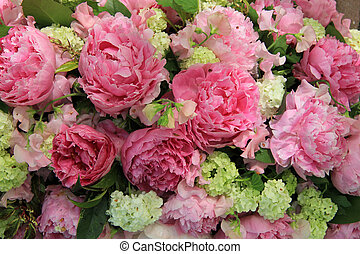 Peonies in a bridal arrangement
