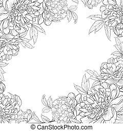 peonies, mazzolino, fiori, garland., primavera