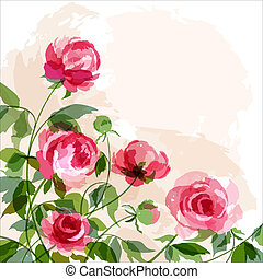 Romantic background with peonies. EPS 10