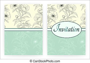 Peonies template for flyer, banner, brochure, invitation, placard, poster. Floral background with peonies. Vintage greeting card with blooming flowers. Vector illustration.