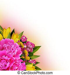 Peonies, tulips and hawtorn flowers corner arrangement for ...