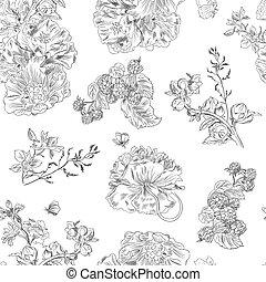 peony., 生地, パターン, 包むこと, seamless, ラズベリー, 手, イラスト, 花, 引かれる