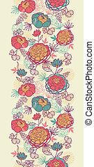 peony, bloemen, en, bladeren, verticaal, seamless, model,...