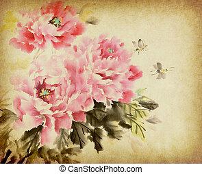 peony, chinees, bloem, wassen, inkt verven
