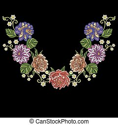 Peony, dahlia, chrysanthemum flowers - Embroidery design....