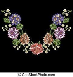 Peony, dahlia, chrysanthemum flowers - Embroidery design....