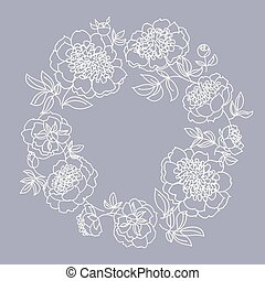 peony flower wreath vector illustration. line sketch hand...