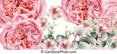 Peony flowers card Vector watercolor. colorful seasonal decor backgrounds