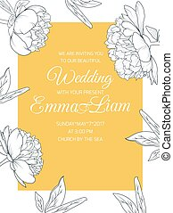 Peony flowers wedding invitation template yellow