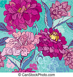 peony., patrón, -, seamless, mano, crisantemo, floral,...