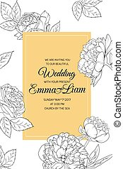 Peony rose flowers wedding invitation black yellow