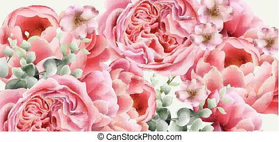 Peony spring flowers Vector. colorful seasonal decor backgrounds