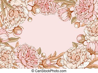 Vintage luxury card with detailed hand drawn flowers - blooming peonies with space for your text. Vector. Easy to edit.