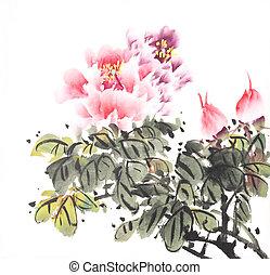 peony, wassen, inkt, traditionele , bloem, chinees, schilderij