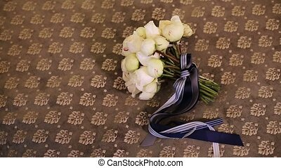 Peony white bouquet with blue ribbons