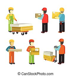 Peope Workers in Warehouse Interior Isoated. - Peope in...