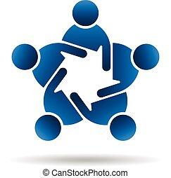 peopl, グループ, ミーティング, logo., 人々
