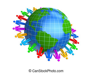 peoplae around the earth - 3d illustration of colorful...