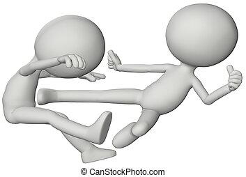 People 3D fight martial karate flying kick - 3D symbol...
