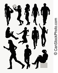 People activity silhouettes - Male and female people ...