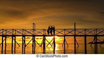 People against a sunset sky on the bridge