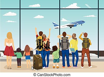 people against windows of an airport observation deck looking at plane taking off