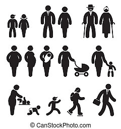 people age icons - set black and white vector icons of...