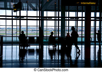 People airport - People waiting at the airport terminal