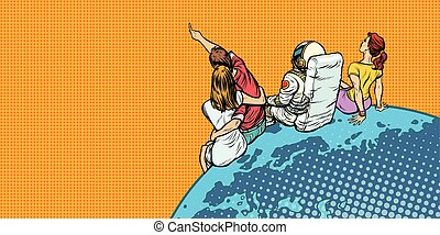 people and an astronaut sitting on planet Earth watching the sky