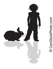 Child with a rabbit on a leash