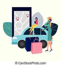 People and auto. Making deals online. Car rent. Vector illustration in flat style