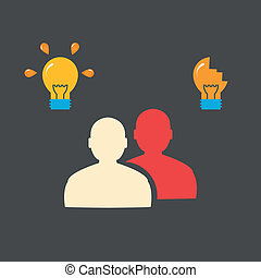 People and bulbs. Flat concept