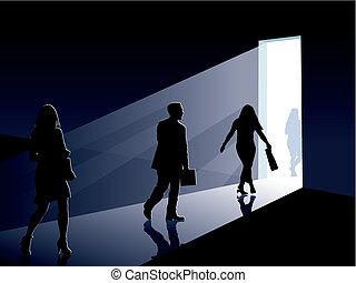 People and door - People are going to an open door, vector...