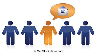 people and envelope illustration