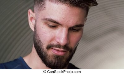 close up of man with beard outdoors - people and facial ...