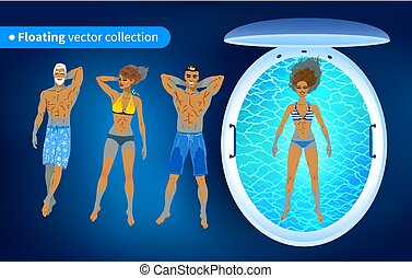 People and floating tank with blue water - Top view vector...
