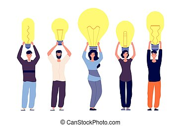People and ideas. Different persons hold light bulbs vector illustration. Metaphor for uniqueness of thinking, different ideas. Vector happy people characters
