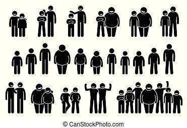People and Man of Different Body Sizes and Heights Icons.