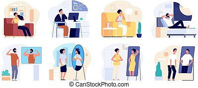 People and mirrors. Dreamy person, affirmation or criticism. Young teen dreaming future, confidence vanity. Lazy self motivation vector set. Illustration woman and man dream improve self