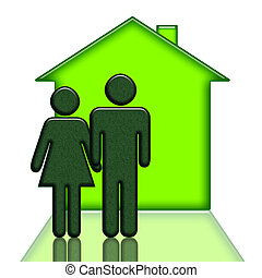 People and new house green illustration isolated over white...