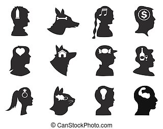 people and pets head with icons